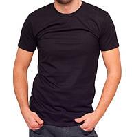 Черная футболка мужская спортивная летняя без рисунка приталенная трикотажная хб (Украина)
