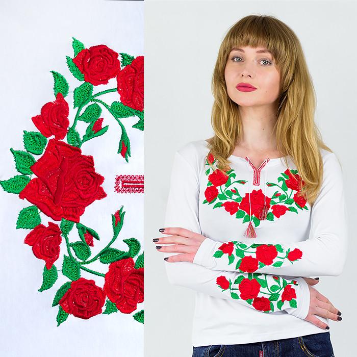 Женский белый лонгслив Розы с длинным рукавом