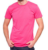 Футболка мужская спортивная летняя без рисунка розовая приталенная трикотажная хб (Украина)