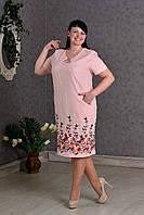 Роскошное женское платье Лен с вышивкой р.56-62 V280-01