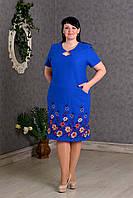 Роскошное женское платье Лен с вышивкой р.56-62 V280-02