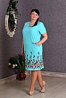 Роскошное женское платье Лен с вышивкой р.56-62 V280-03