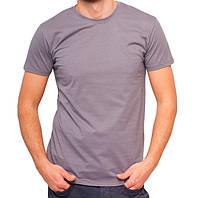 Серая футболка мужская спортивная летняя без рисунка приталенная трикотажная хб (Украина)