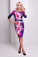 Красивое женское платье по фигуре с розами Неон сукня Лоя-1Ф д/р