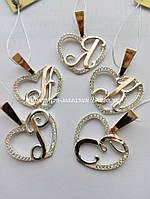 Подвеска-буква в сердце из серебра с золотом и фианитами, фото 1