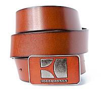 Винтажный мужской кожаный ремень BOSS ORANGE под джинсы со стильной оригинальной пряжкой (11234)