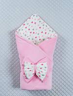 """Демісезонний велюровий конверт-ковдра для дівчинки """"Корони"""", рожевий"""