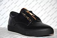 Кеды женские стильные черного цвета на шнуровке + змейка
