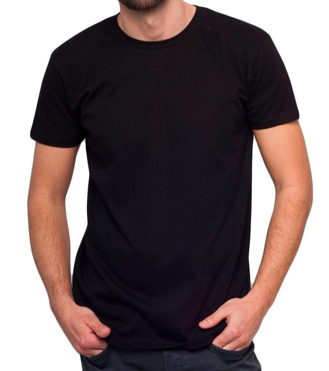 187781e602e56 Черная футболка мужская спортивная летняя без рисунка трикотажная хб  (Украина)
