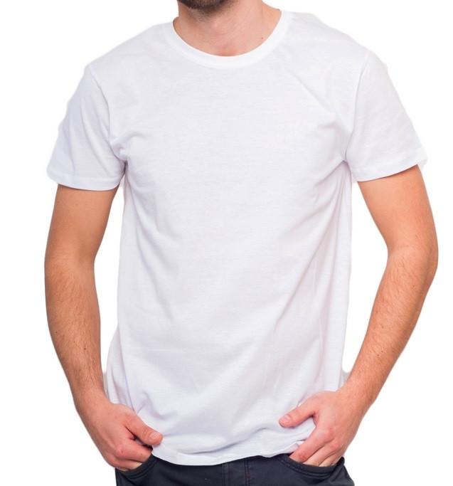Белая футболка мужская спортивная летняя без рисунка трикотажная хб Украина