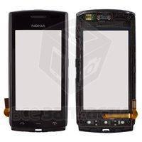 Тачскрин (сенсор) для мобильного телефона Nokia 500, с передней панелью, б/у, черный, сенсор новый