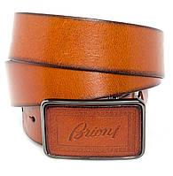 Винтажный мужской кожаный ремень Brioni под джинсы или кежуал брюки со стильной оригинальной пряжкой (11231)