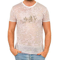 Летняя футболка мужская тонкая трикотажная вискоза хб розовая (Украина)