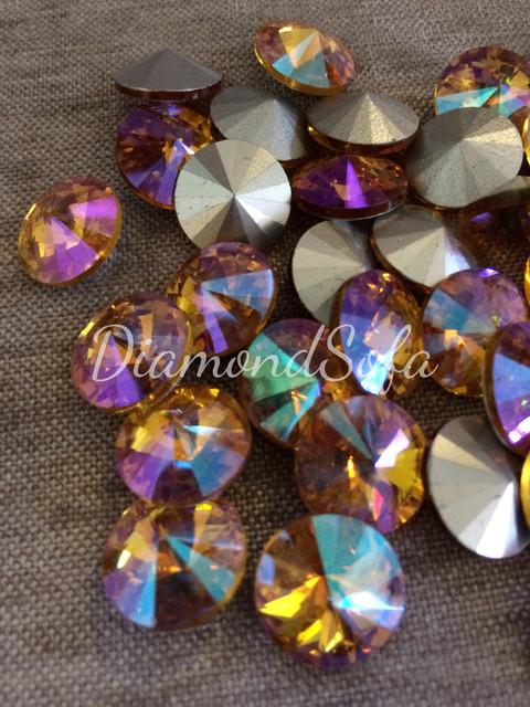 Риволи стеклянные круглые 14 мм