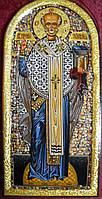 Икона святителя Николая чудотворца. Олеография. Имитация полудрагоценных камней. Размер 135*280