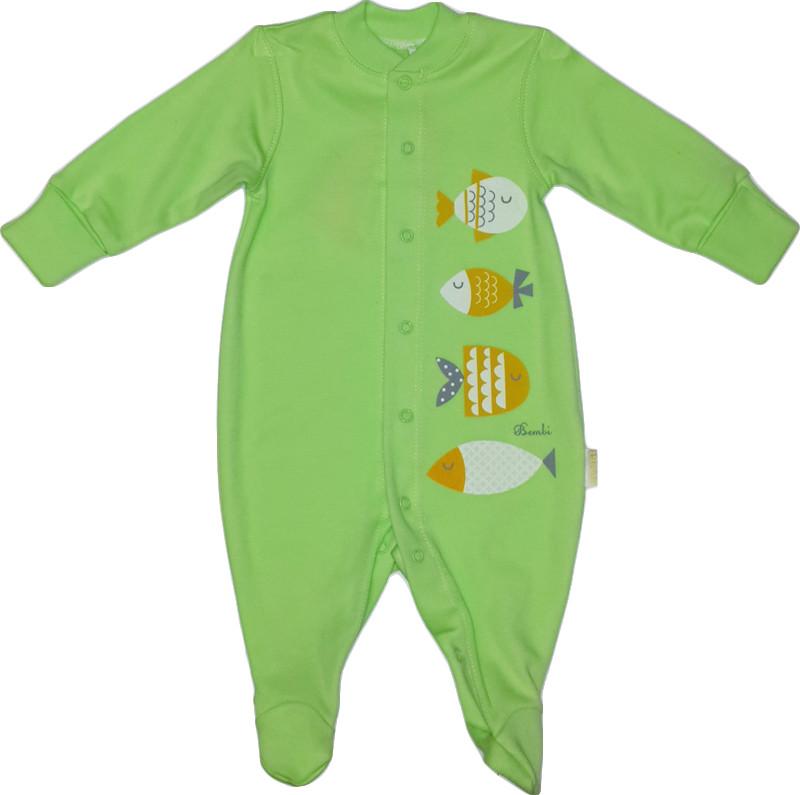 Комбинезон человечек хлопковый ТМ Бемби КБ2 зеленый без капюшона размер 56 62
