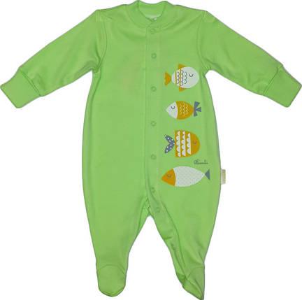 Комбинезон человечек хлопковый ТМ Бемби КБ2 зеленый без капюшона размер 56 62, фото 2