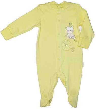 Комбинезон человечек хлопковый Bembi желтый без капюшона размер 62 68 74, фото 2