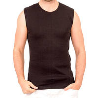Черная майка безрукавка мужская спортивная без рисунка трикотажная хб (Украина) 44