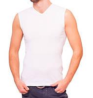 Белая майка безрукавка мужская без рисунка спортивная летняя трикотажная хб (Украина) 44