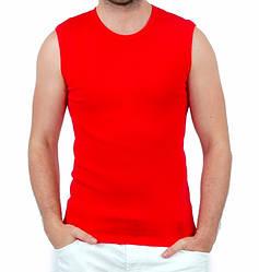 Футболка безрукавка мужская спортивная красная без рисунка летняя трикотажная хб Украина