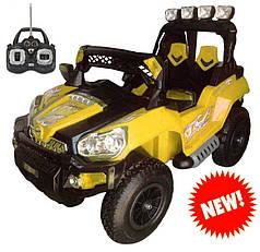 Детский Электромобиль Джип TRIUMF FS 801 желтый на надувных колесах, пульт управления