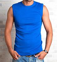 Футболка безрукавка мужская спортивная синяя без рисунка летняя трикотажная хб (Украина)