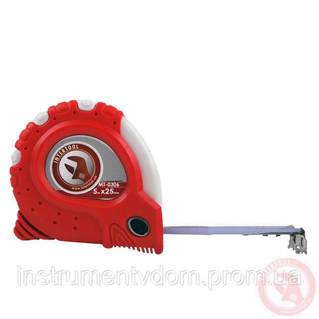 """Рулетка INTERTOOL MT-0306 с металлическим полотном """"Супер Магнит"""" blister (5 м х 25 мм)"""
