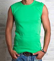 Футболка безрукавка мужская спортивная зеленая без рисунка летняя трикотажная хб (Украина)