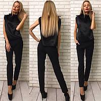 Модный женский брючный костюм двойка: атласный черный топ+брюки. Арт-1276/38