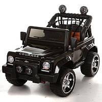 Двухместный детский электромобиль Джип M 3188 EBLR-2 черный, мягкие колеса и кожаное сиденье
