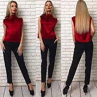 Модный женский брючный костюм двойка: атласный красный топ+брюки. Арт-1276/38