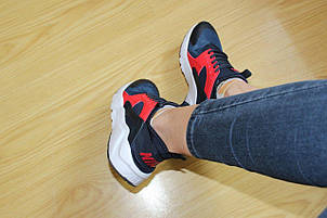 Женские кроссовки Nike Air Huarache синие с красным, фото 2