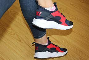 Женские кроссовки Nike Air Huarache синие с красным, фото 3