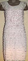 Модное розовое платье декорированное рюшами. Англия