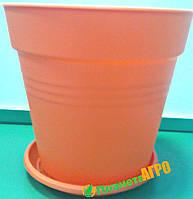 Горшок цветочный Глория 24х22,5 см оранжевый 6,6 л , Украина