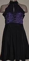 Платье чёрное комбинированное с открытыми плечами. Англия