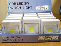 Беспроводной светодиодный ультра-яркий LED Ночник Выключатель 3W на батарейках