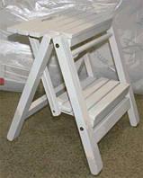 Лестница малая, деревянная стремянка для дома цвет белый