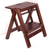 Лестница малая, деревянная стремянка для дома цвет орех