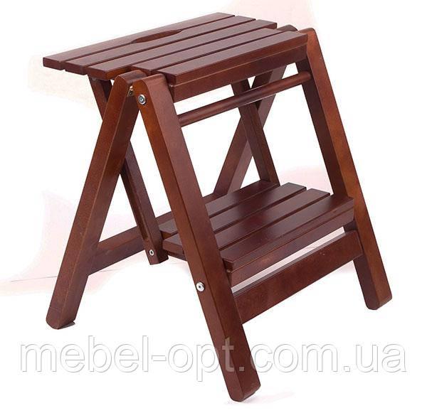 Лестница малая, деревянная стремянка для дома цвет орех - Мебель опт в Киеве