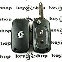 Корпус выкидного ключа для RENAULT (Рено) 2 кнопки, лезвие NE73, (с логотипом)