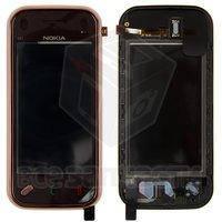 Тачскрин (сенсор) для мобильного телефона Nokia N97 Mini, с передней панелью, original, коричневый