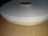 Тесьма 25мм белая(беж.диагональ на кольцах), фото 1