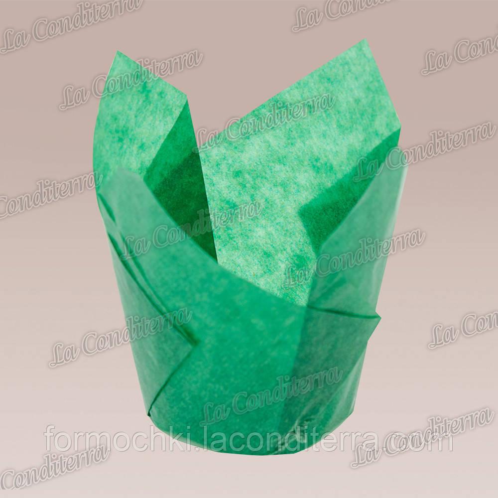 Формочки для кексов Тюльпан насыщенно-зеленые (50 шт., d=50 мм, высота бортика=60/80 мм)