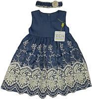 Платье детское нарядное  джинс  ТМ Маленьке Сонечко голубое размер 80 86