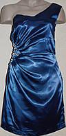 Нарядное синее платье на одно плечо. Англия