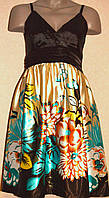 Нарядное атласное платье в цветочный принт. Англия