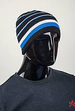Шапка мужская в полоску на флисе, теплая AG-0002430 Серо-синий