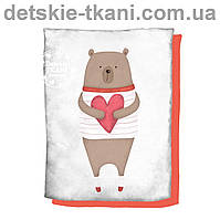 """Панельки из хлопковой ткани """"Мишка с сердцем"""", размер 75*100 см"""